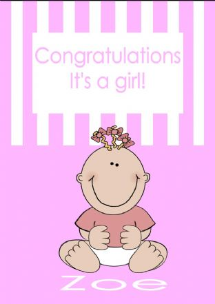 Personalised New Baby Girl Card Design 1
